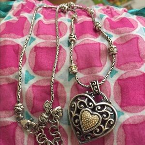 Brighton 2 tone reversible heart pendant necklace
